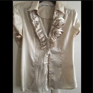 New York & Company Cream Blouse